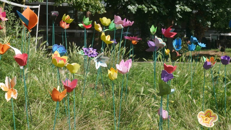 We love making flowers to decorate the park and woods